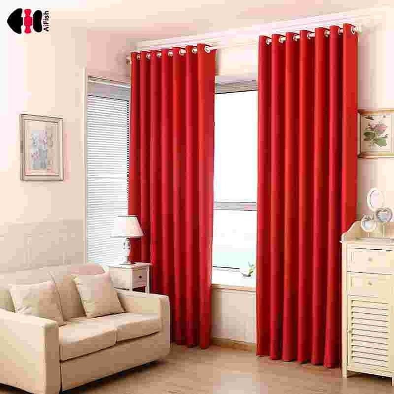 Red Curtains For Living Room  Red Curtains Pure Black Blockout Curtains French Curtain