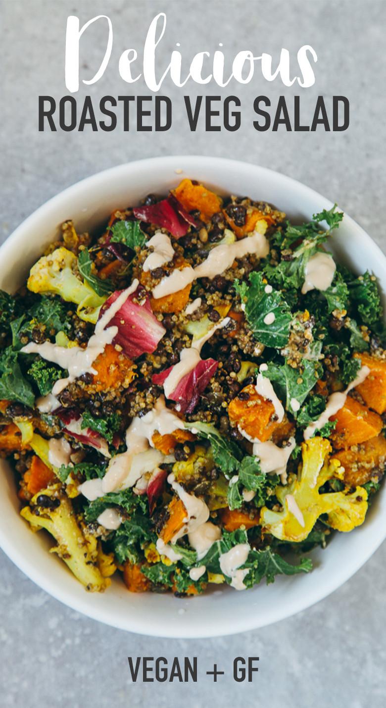 Roasted Vegetable Quinoa Salad  Roasted Veggie & Quinoa Salad with Tahini Garlic Dressing