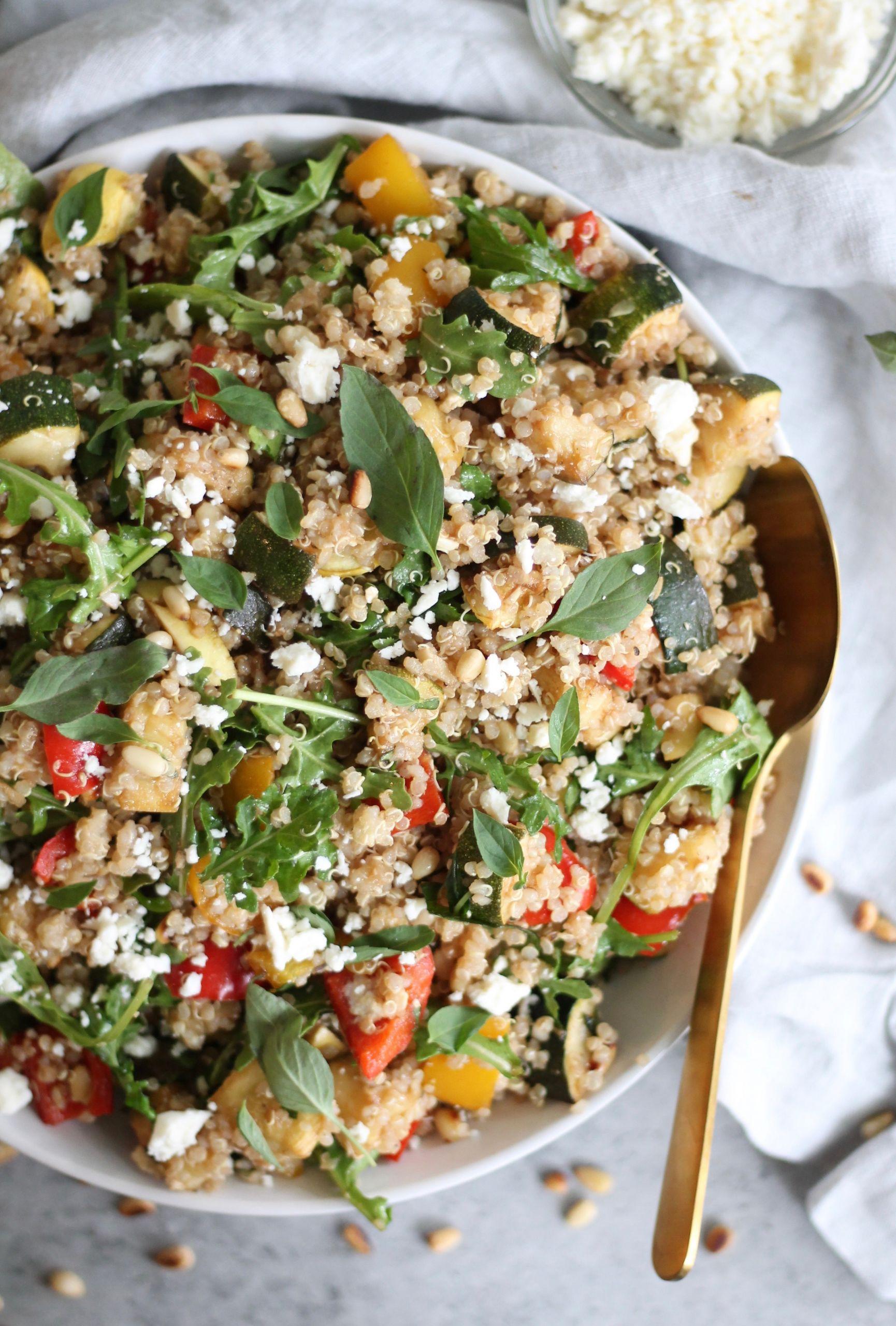 Roasted Vegetable Quinoa Salad  Balsamic Roasted Veggie Quinoa Salad with Feta Arugula