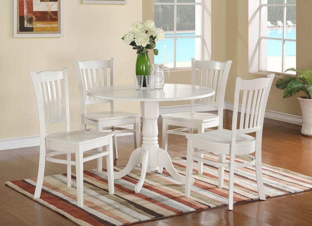 Round White Kitchen Table Sets  5pc Dublin dinette set round pedestal kitchen table w 4