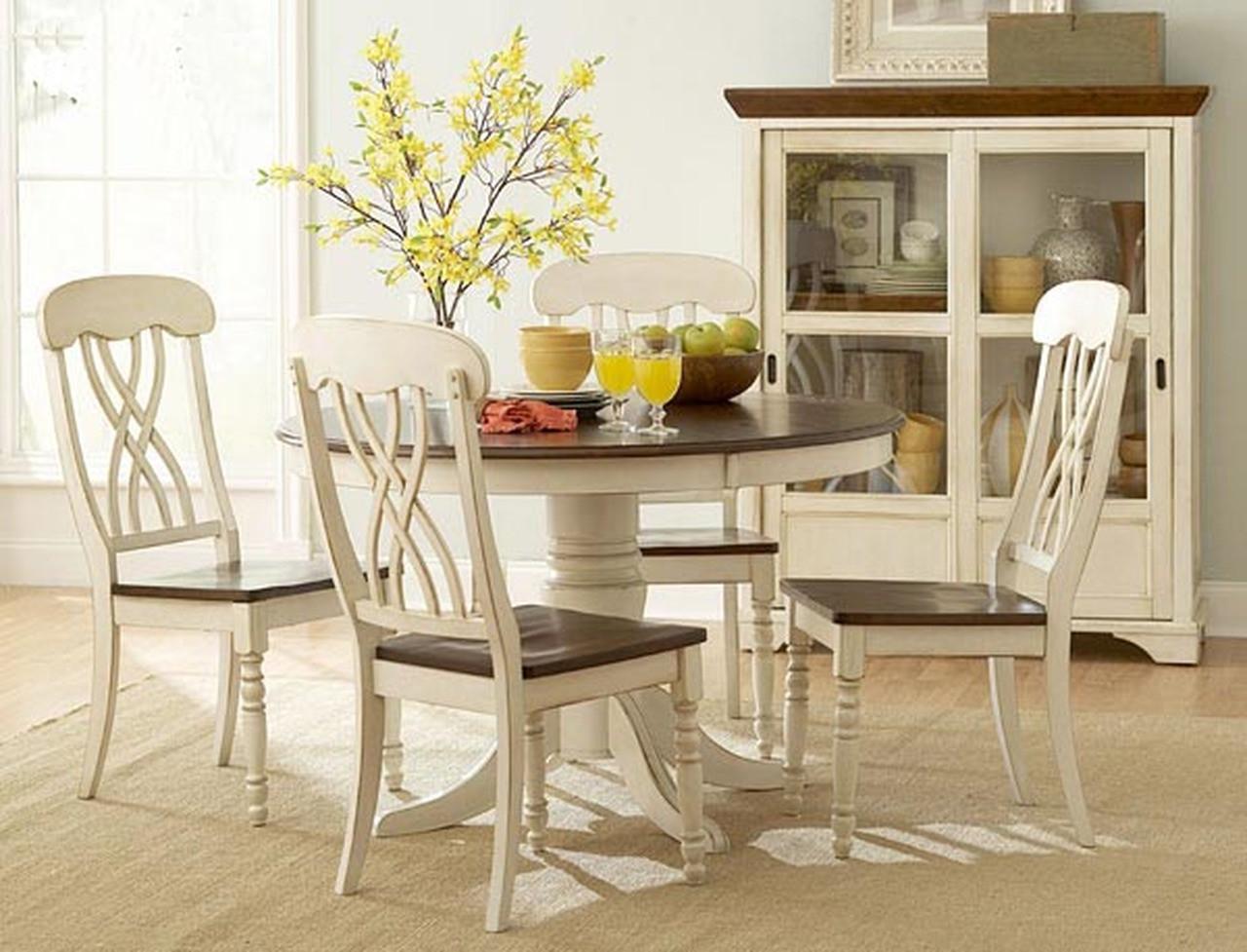 """Round White Kitchen Table Sets  48"""" Round Antique White Cherry Kitchen Table Set"""