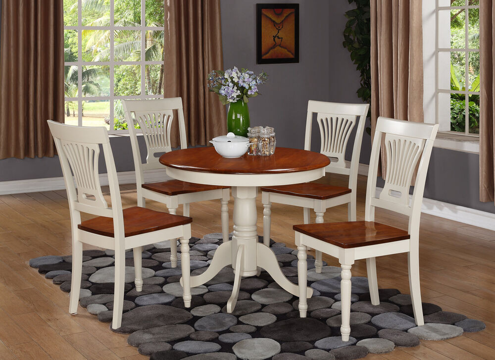 Round White Kitchen Table Sets  3PC ROUND TABLE DINETTE KITCHEN DINING SET W 2 WOOD