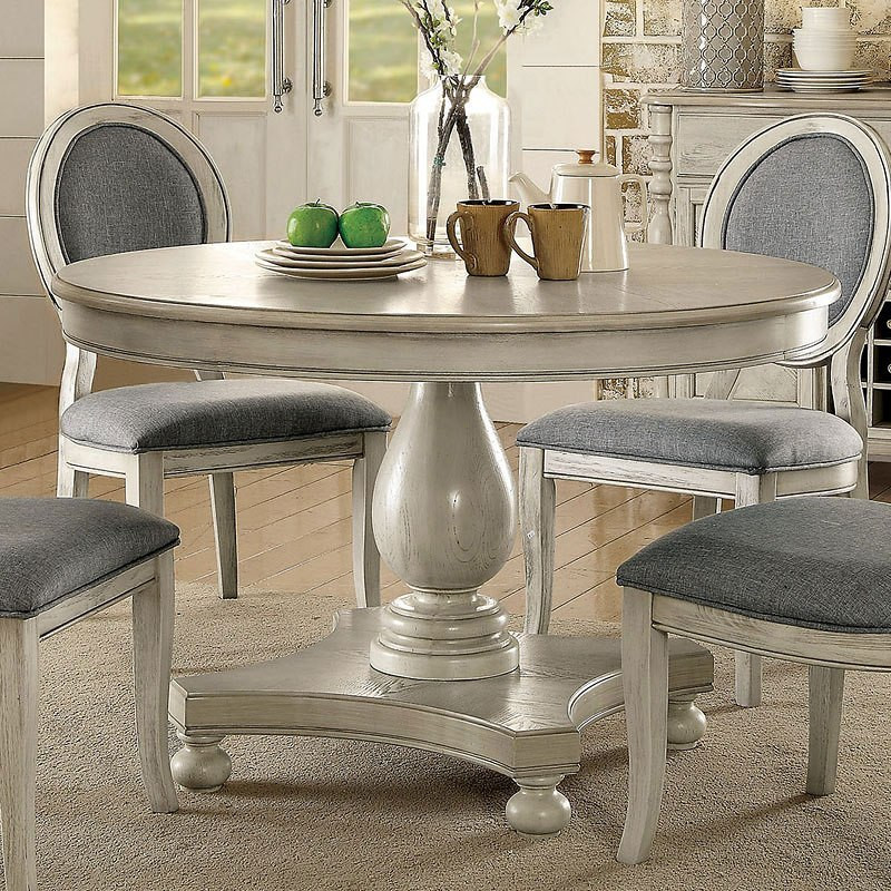 Round White Kitchen Table Sets  Siobhan Round Dining Table Antique White Furniture