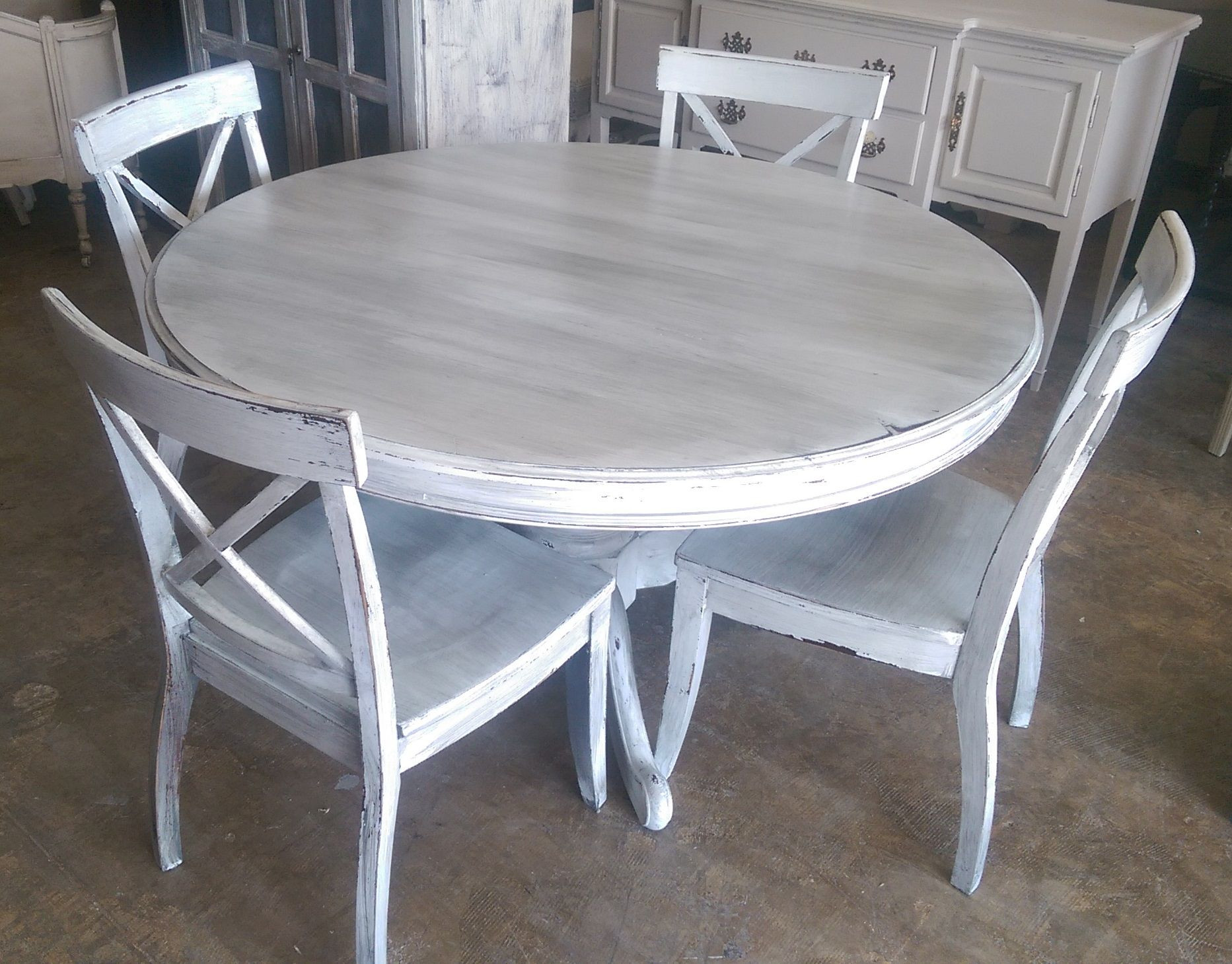 """Round White Kitchen Table Sets  Here is a 54"""" round table and four chairs I painted it"""