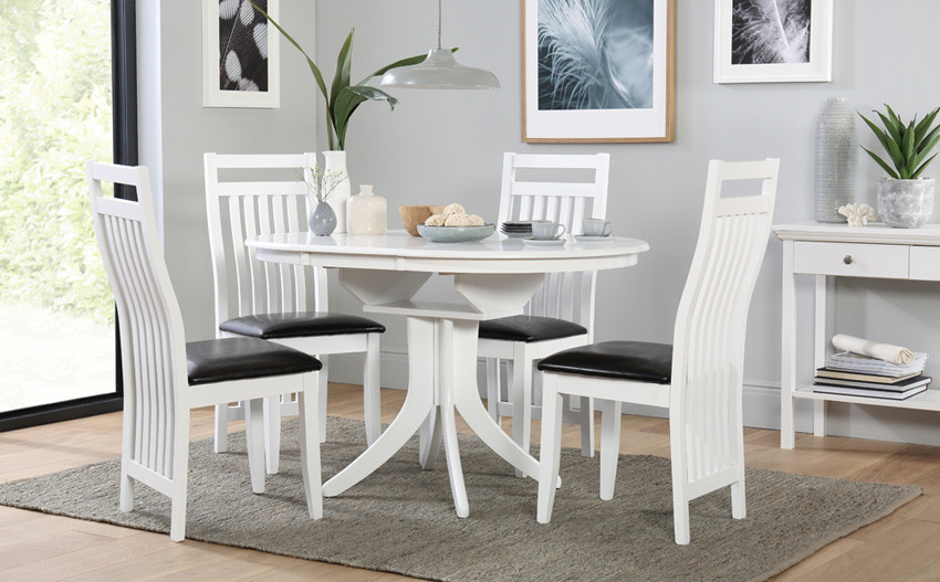 Round White Kitchen Table Sets  Hudson White Round Extending Dining Table and 6 Chairs Set