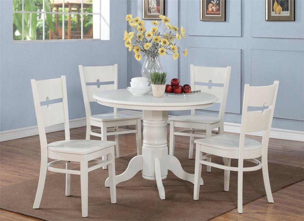 Round White Kitchen Table Sets  5 PC SHELTON ROUND KITCHEN TABLE w 4 ROCKVILLE WOOD SEAT