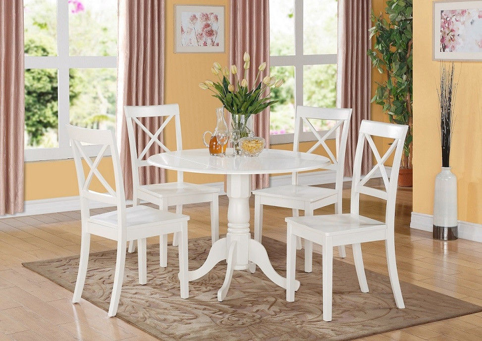 Round White Kitchen Table Sets  5PC SET ROUND DINETTE KITCHEN TABLE with 4 WOOD SEAT
