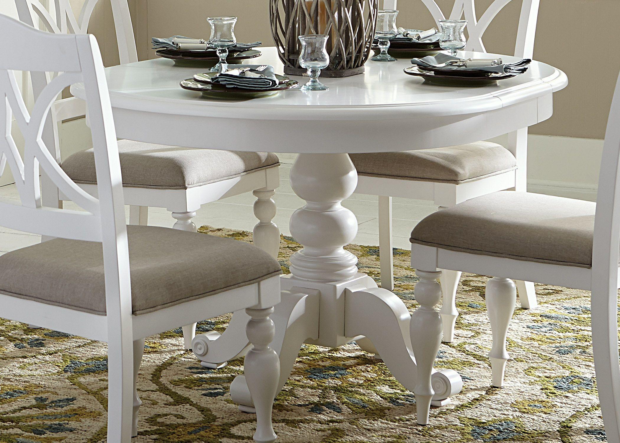 Round White Kitchen Table Sets  Summer House Oyster White Oyster White Round Pedestal
