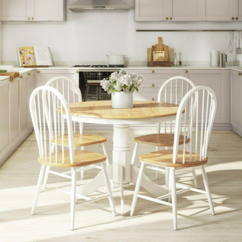 Round White Kitchen Table Sets  Rhode Island Natural & White Round Kitchen Dining Table