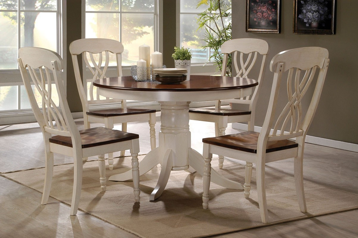 Round White Kitchen Table Sets  42 Lander Oak Buttermilk Round Kitchen Table Set