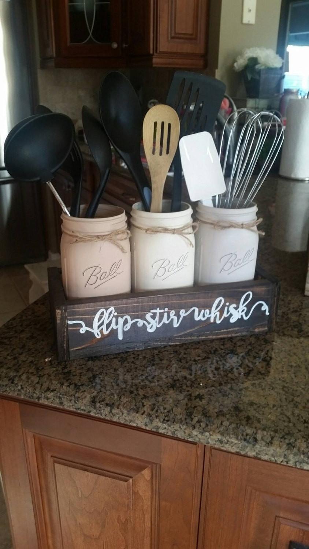 Rustic Kitchen Accessories  rustic kitchen decor kitchen decor mason jar utensil