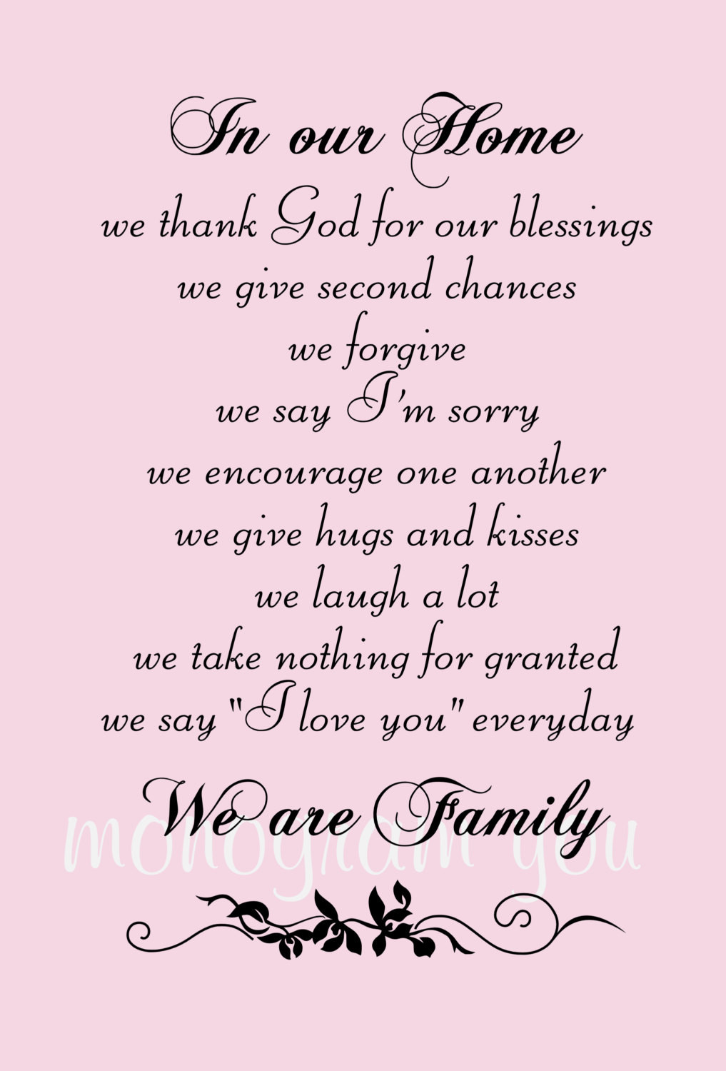 Second Family Quotes  Family Wall Decal Quote In Our Home we thank God for our