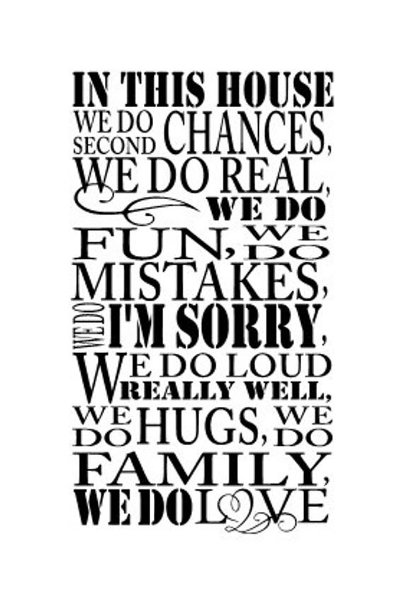 Second Family Quotes  In this house we do second chances Vinyl wall decal 13 x