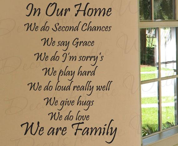 Second Family Quotes  In Our Home We Do Second Chances Love Home Family Decorative