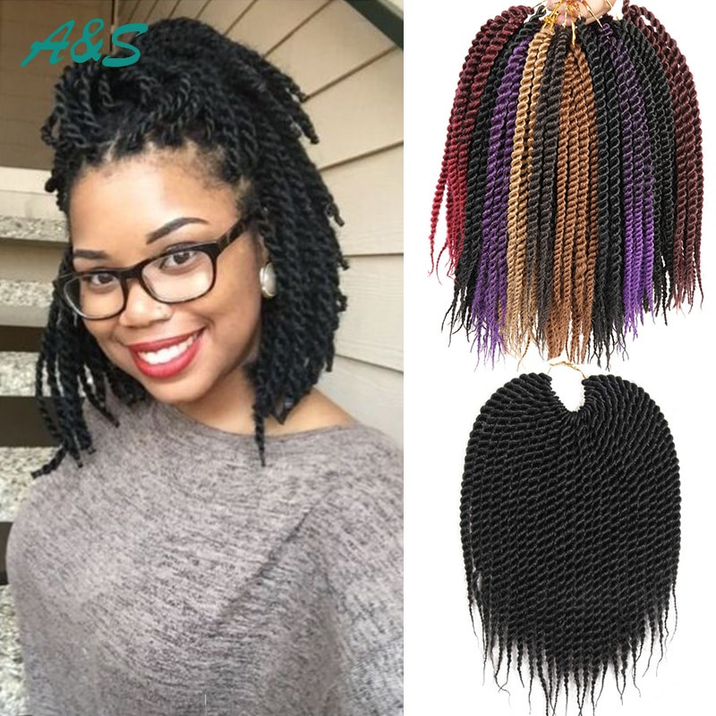 "Senegalese Twist Crochet Hairstyles  10"" senegalese twist hair crochet braids curly havana"