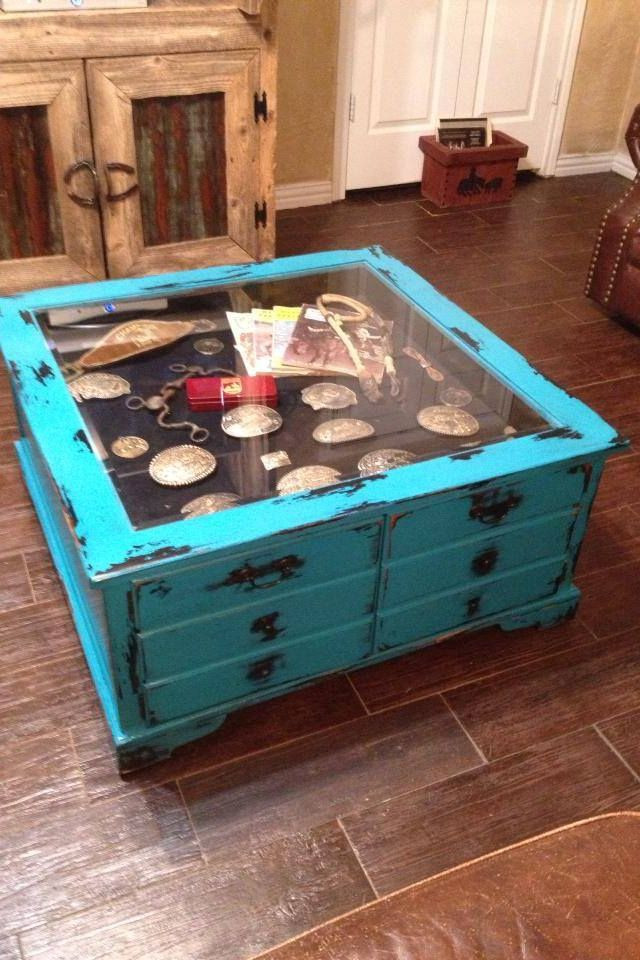 Shadow Box Coffee Table DIY  Distressed shadow box coffee table with belt buckles and