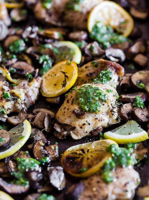 Sheet Pan Boneless Chicken Thighs  Sheet Pan Garlic Lemon Chicken and Mushrooms