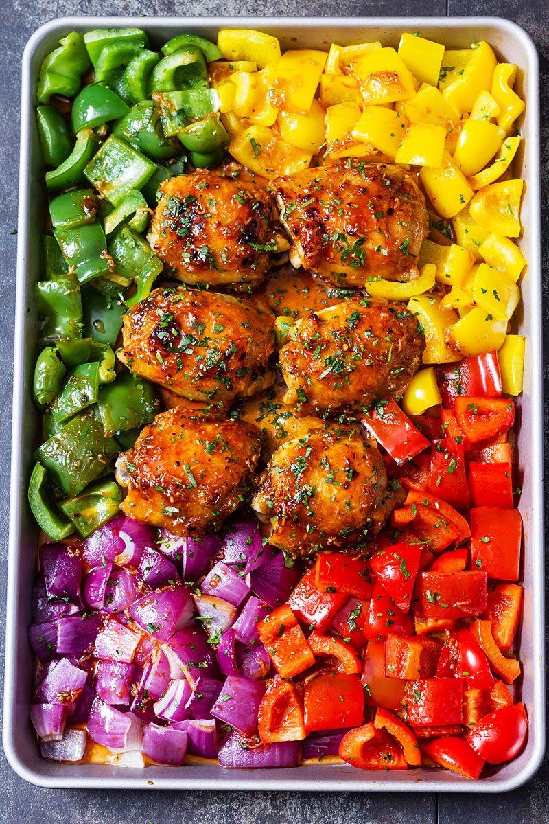Sheet Pan Dinners Chicken Thighs  Chicken Sheet Pan Dinner with Honey Chili Sauce — Eatwell101