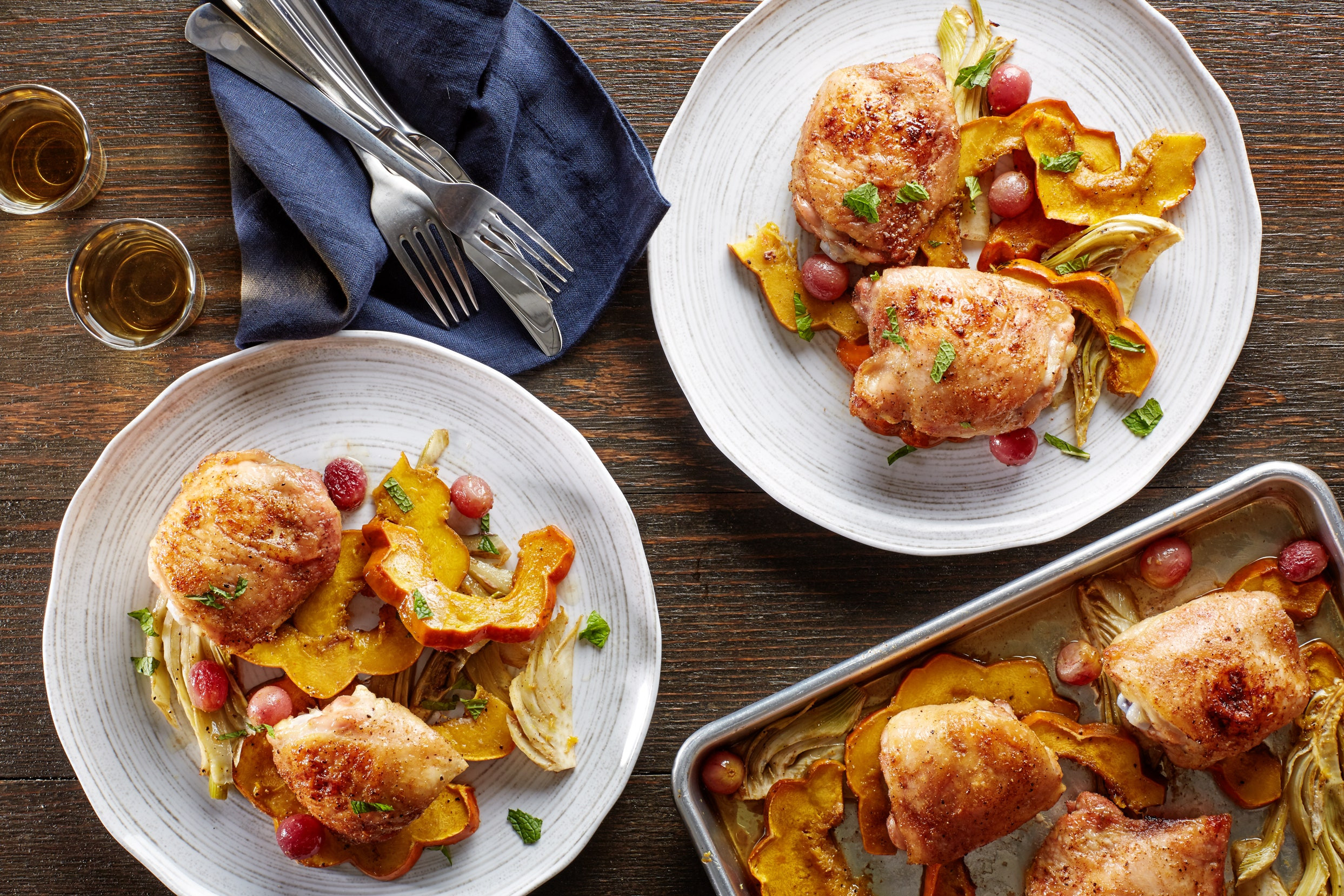 Sheet Pan Dinners Chicken Thighs  Sheet Pan Cumin Chicken Thighs with Squash Fennel and