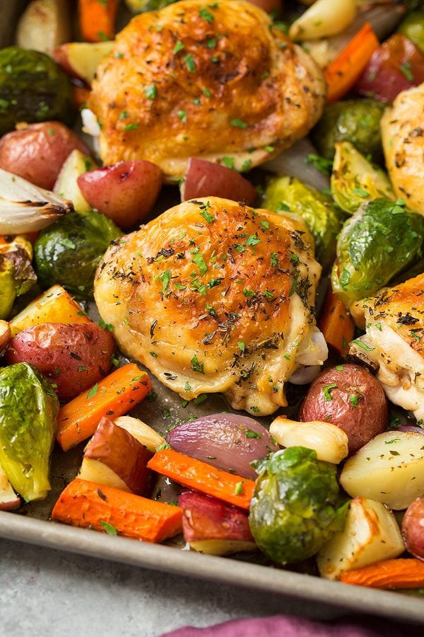 Sheet Pan Dinners Chicken Thighs  Sheet Pan Roasted Chicken with Root Ve ables Cooking