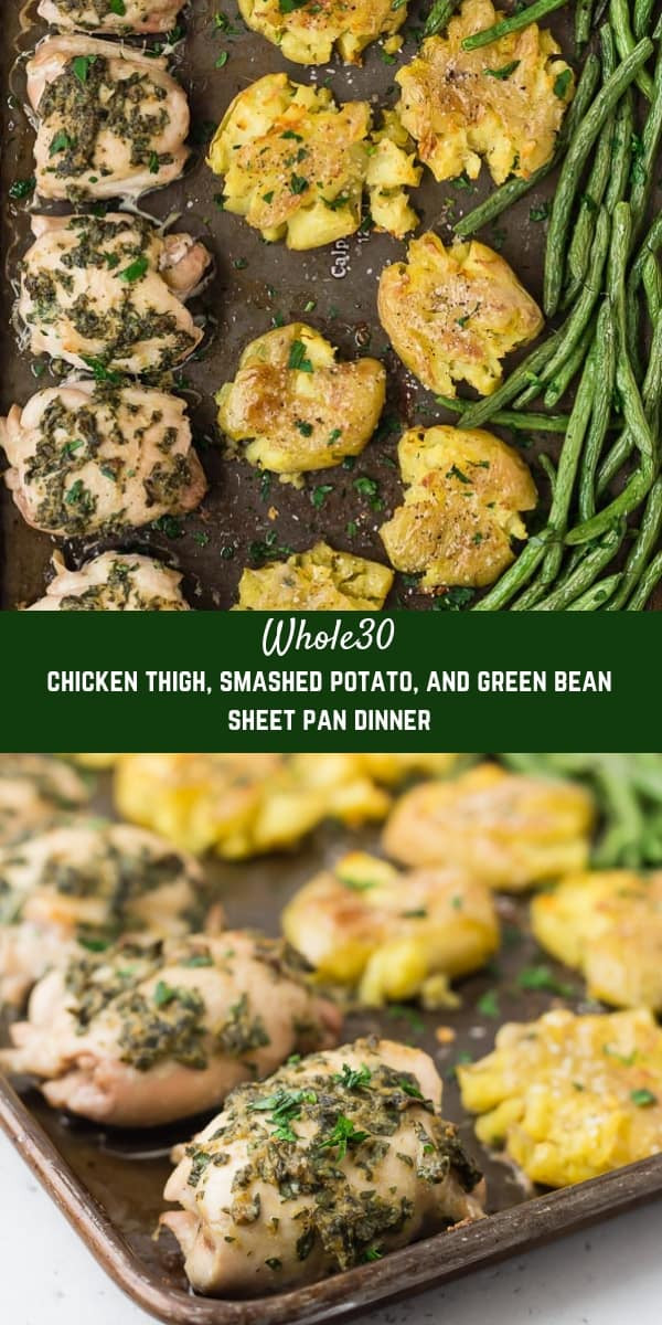 Sheet Pan Dinners Chicken Thighs  Whole30 Chicken Thighs Sheet Pan Dinner with Smashed