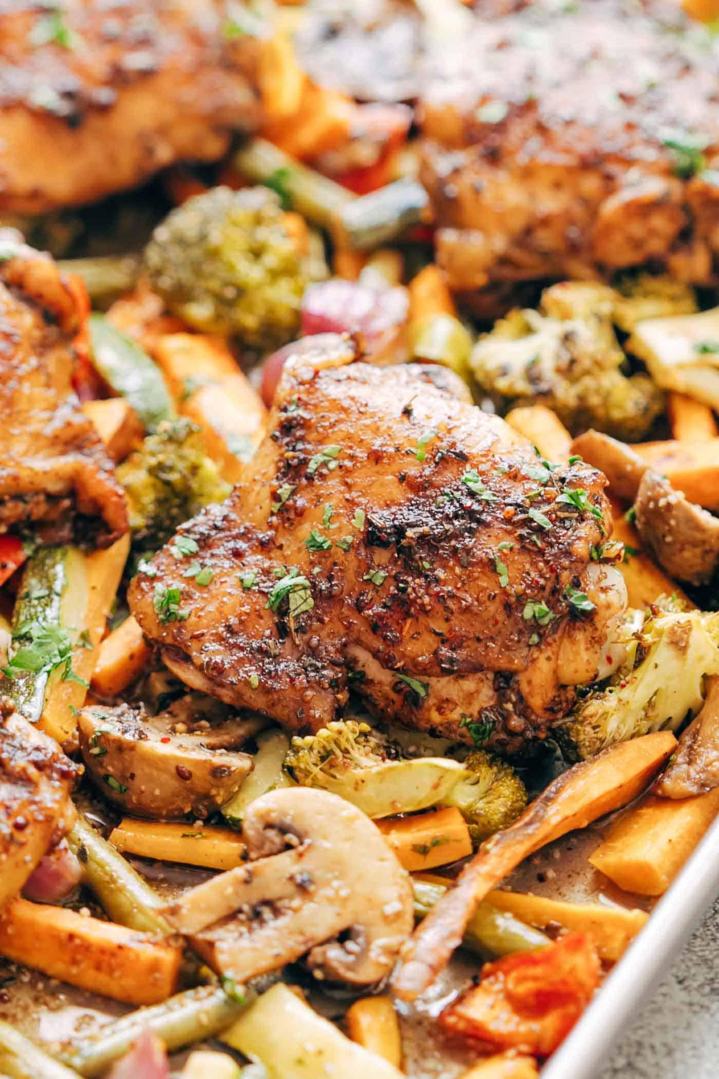 Sheet Pan Dinners Chicken Thighs  Sheet Pan Honey Balsamic Chicken Thighs with Veggies