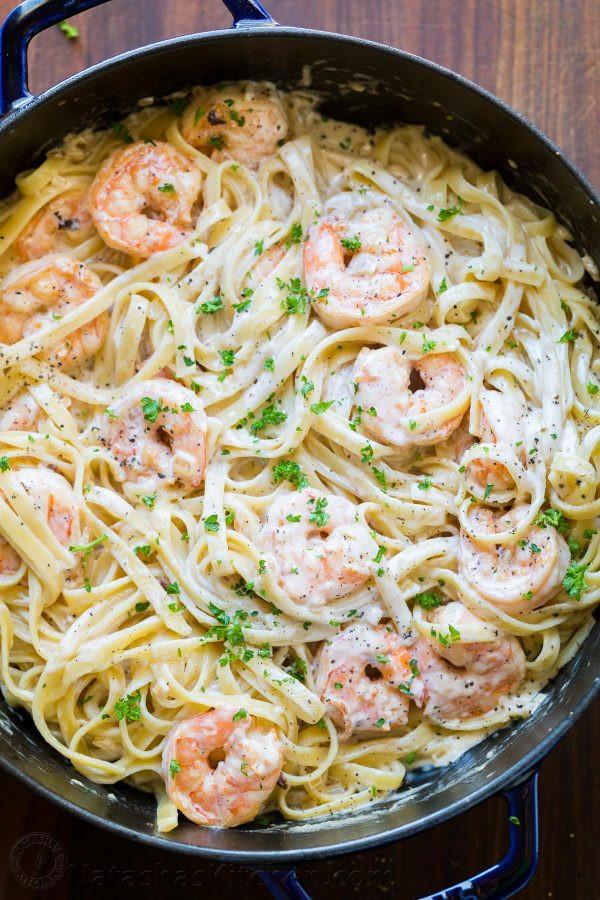 Shrimp Spaghetti Alfredo  Creamy Shrimp Pasta Recipe VIDEO NatashasKitchen