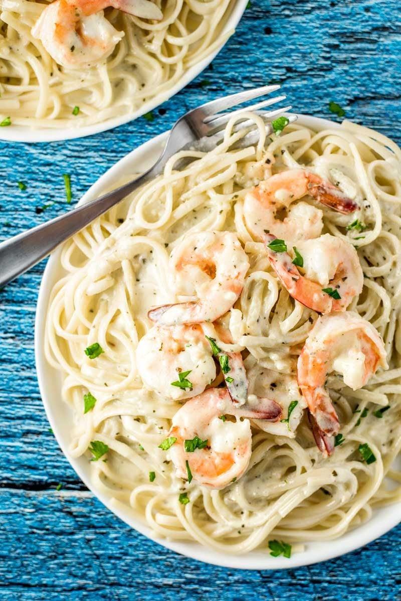 Shrimp Spaghetti Alfredo  pesto alfredo shrimp pasta