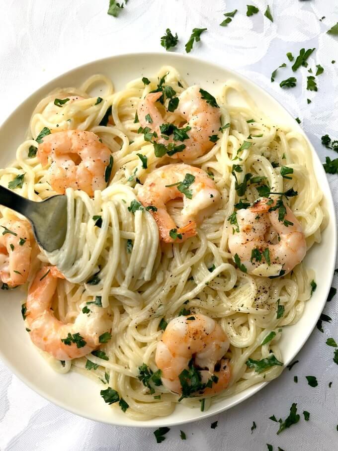 Shrimp Spaghetti Alfredo  20 Minute Creamy Shrimp Alfredo Pasta for Two My