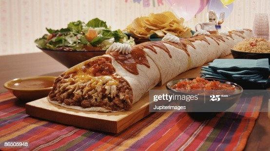 Side Dish For Burritos  Giant Burrito With Side Dishes Stock