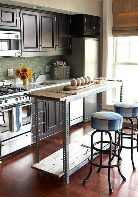 Small Kitchen With Island Ideas  21 Space Saving Kitchen Island Alternatives for Small Kitchens