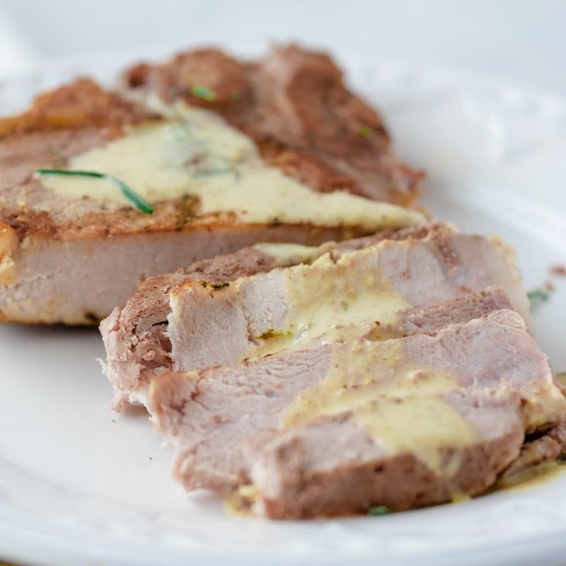 Sous Vide Frozen Pork Chops  Sous Vide Pork Chops with mustard cream sauce Upstate