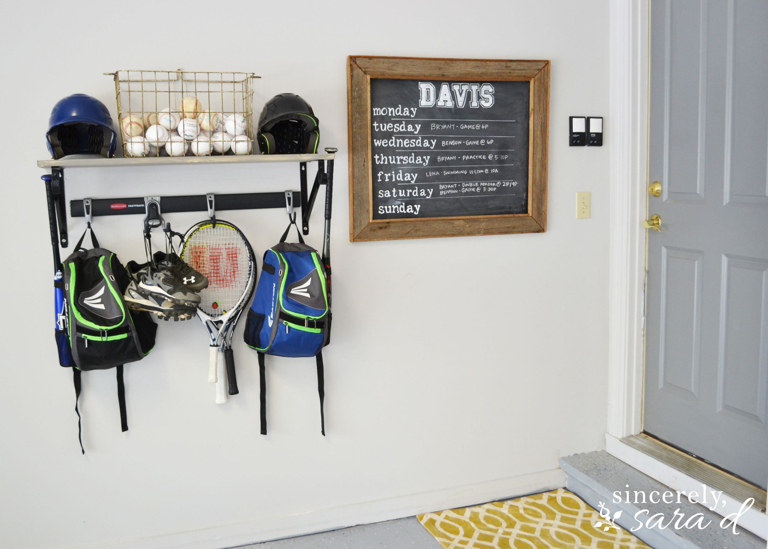 Sports Equipment Organizer For Garage  Organizing with Rubbermaid s FastTrack system