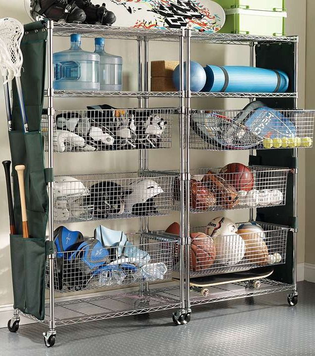 Sports Equipment Organizer For Garage  Chrome finished Tower Shelving