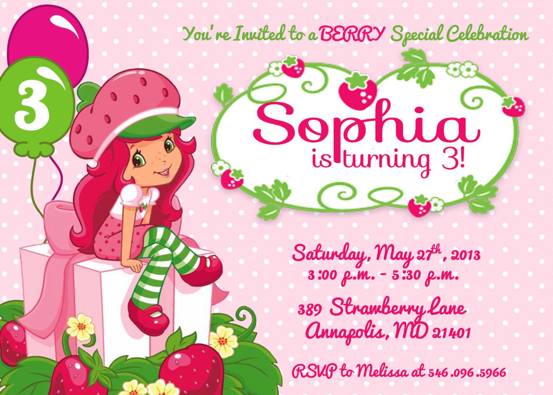 Strawberry Shortcake Birthday Invitations  Strawberry Shortcake Birthday Party Invitation Printable or