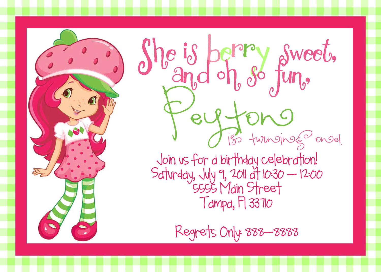 Strawberry Shortcake Birthday Invitations  Printable Strawberry Shortcake Birthday by MagicbyMarcy on