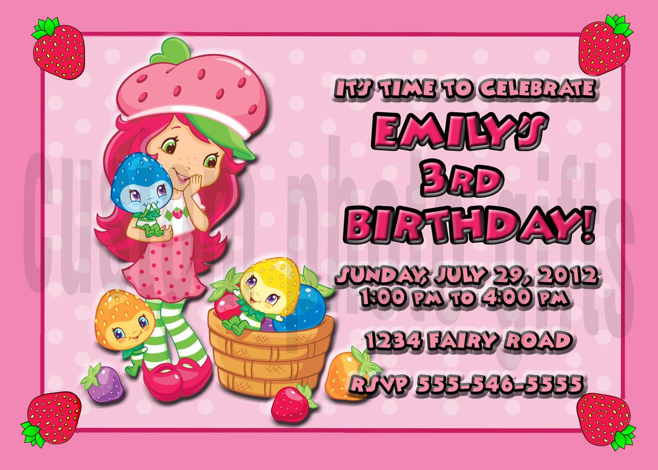 Strawberry Shortcake Birthday Invitations  Personalized Strawberry Shortcake Birthday Invitation