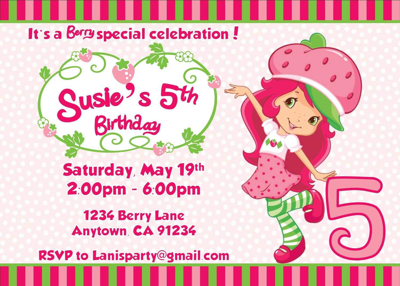 Strawberry Shortcake Birthday Invitations  Strawberry Shortcake Personalized Birthday Invitations