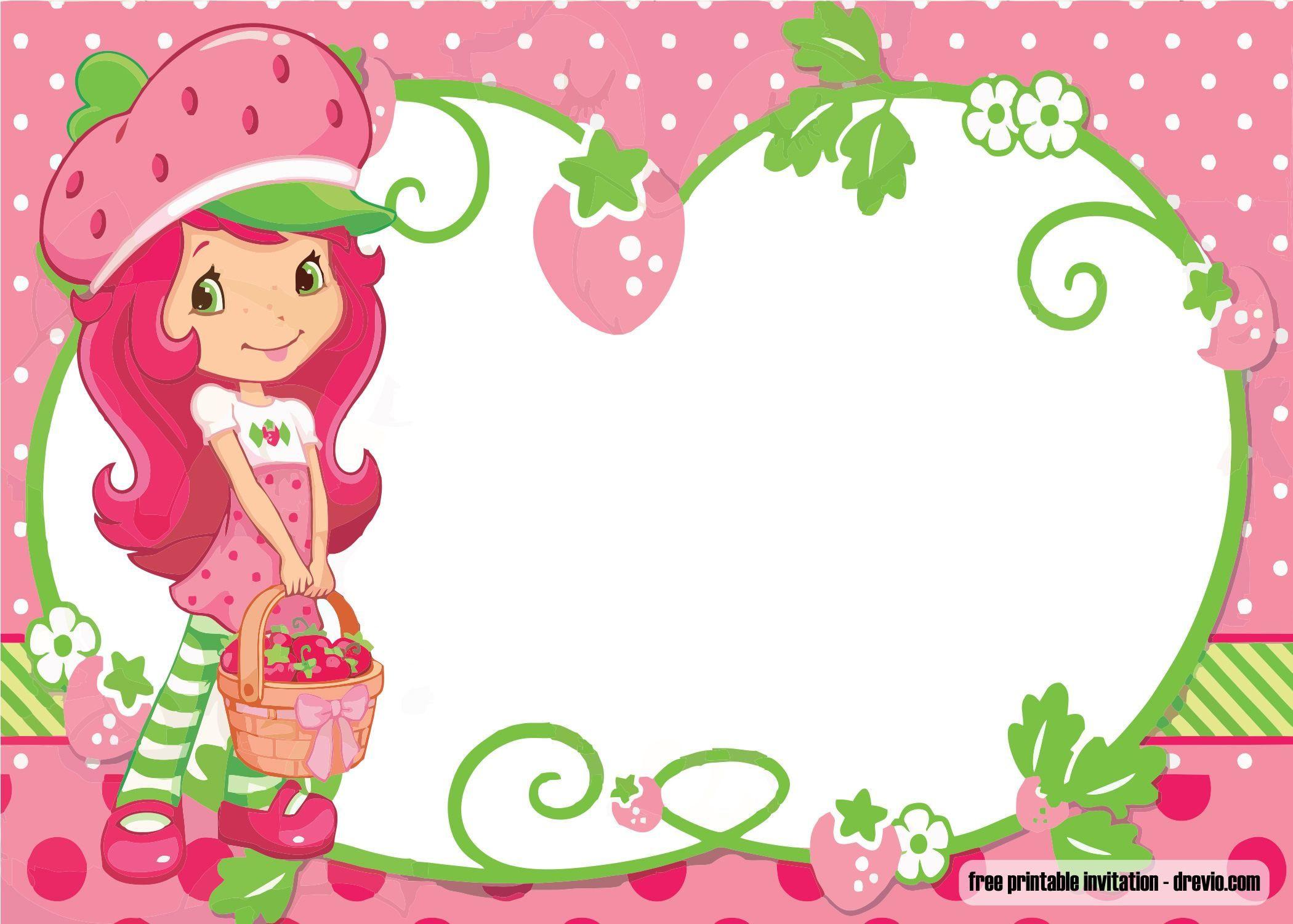 Strawberry Shortcake Birthday Invitations  Strawberry Shortcake Birthday Invitations