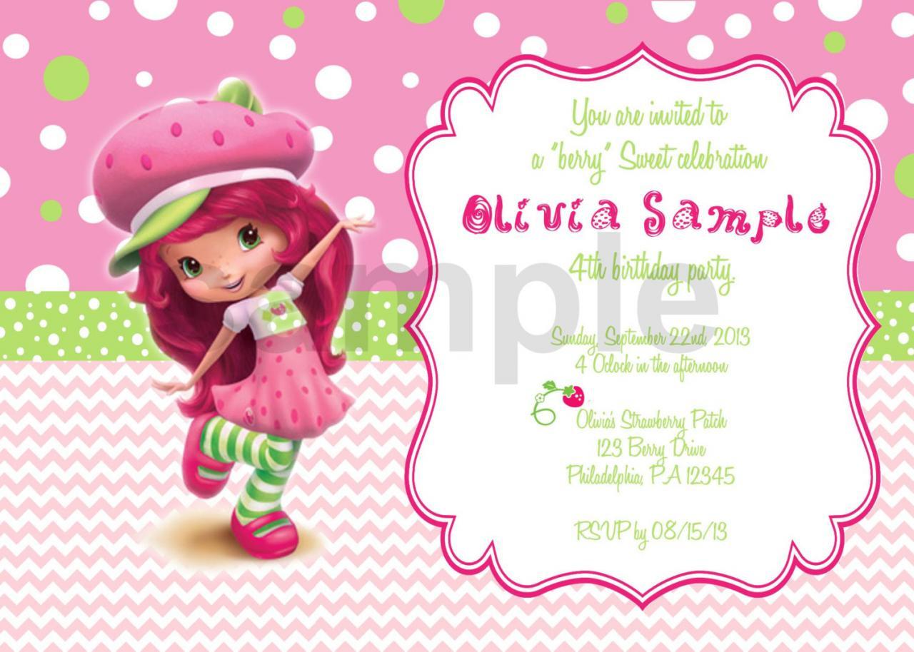 Strawberry Shortcake Birthday Invitations  Strawberry ShortCake 2 Birthday Invitation Digital File