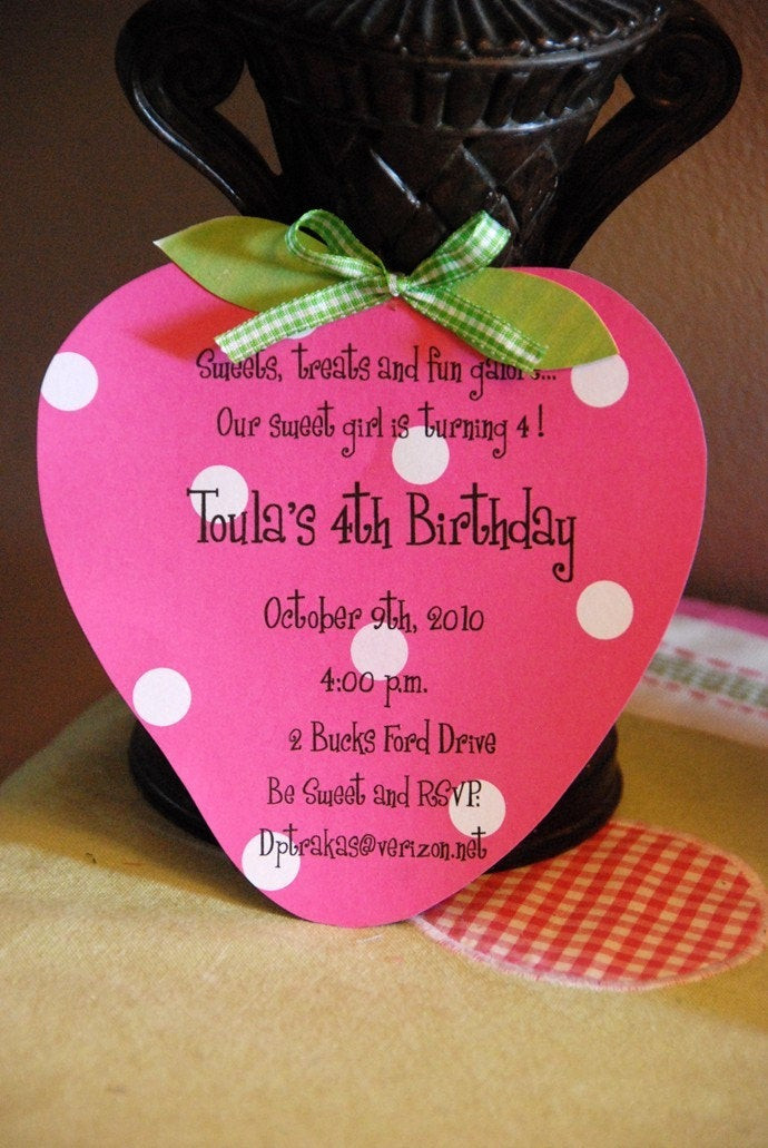 Strawberry Shortcake Birthday Invitations  Strawberry Shortcake Birthday Invitation by palmbeachpolkadots