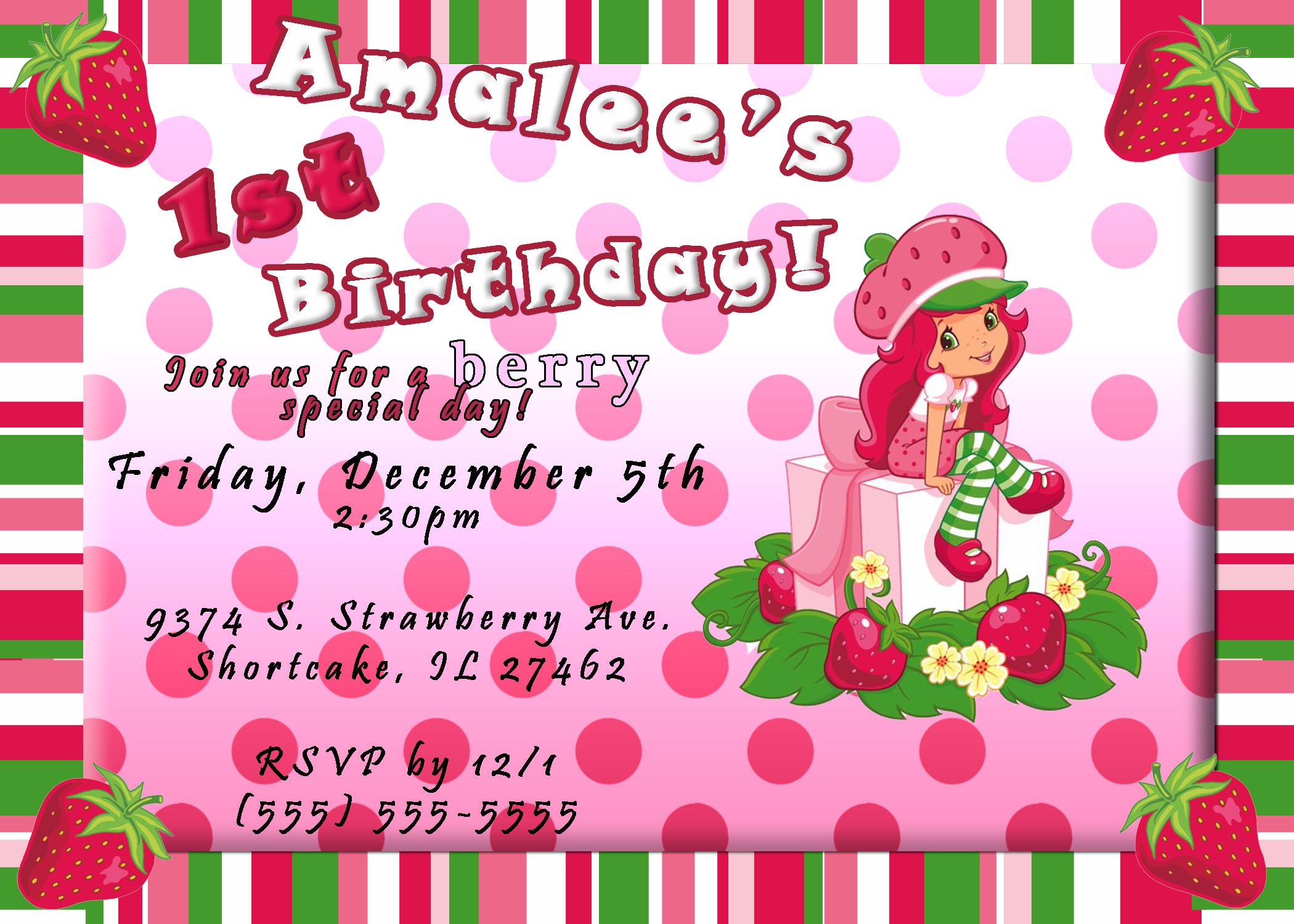 Strawberry Shortcake Birthday Invitations  Strawberry Shortcake Birthday Invitation