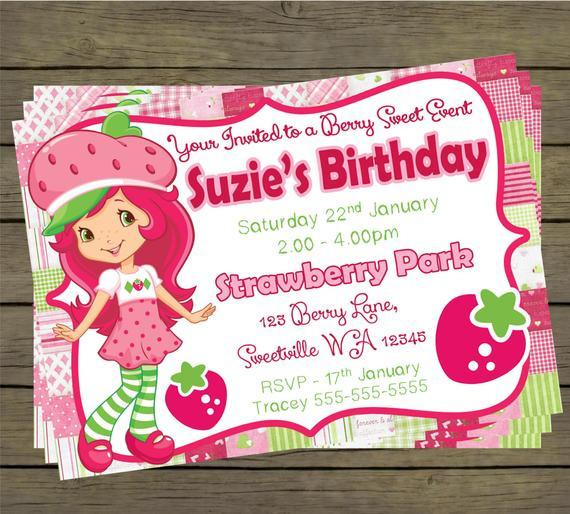 Strawberry Shortcake Birthday Invitations  Strawberry Shortcake Birthday Party Invitation by