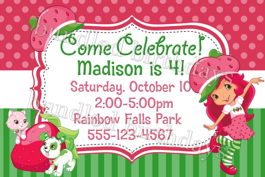 Strawberry Shortcake Birthday Invitations  Strawberry Shortcake Birthday Invitation Digital Download
