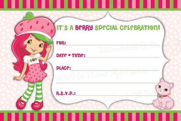 Strawberry Shortcake Birthday Invitations  Strawberry Shortcake Birthday Invitations Ideas – FREE