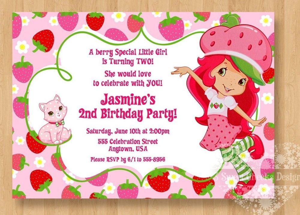Strawberry Shortcake Birthday Invitations  10 Strawberry Shortcake Birthday Party Invitations Cute