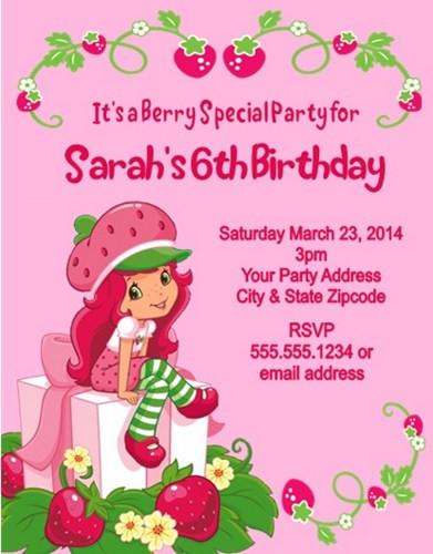Strawberry Shortcake Birthday Invitations  FREE Printable Strawberry Shortcake Personalized Birthday