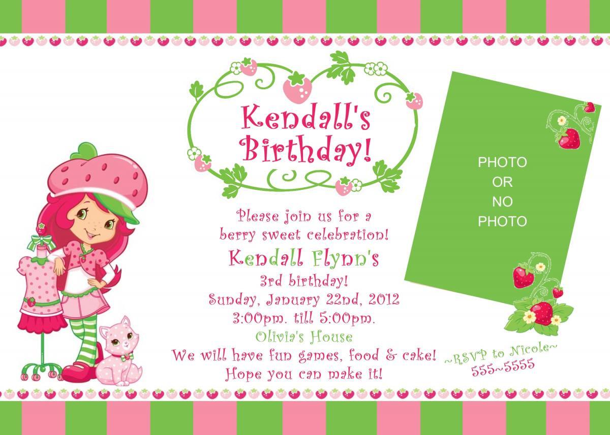Strawberry Shortcake Birthday Invitations  Strawberry Shortcake Birthday Invitation Digital File