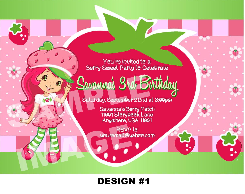 Strawberry Shortcake Birthday Invitations  Strawberry Shortcake Birthday Party Invitations — FREE
