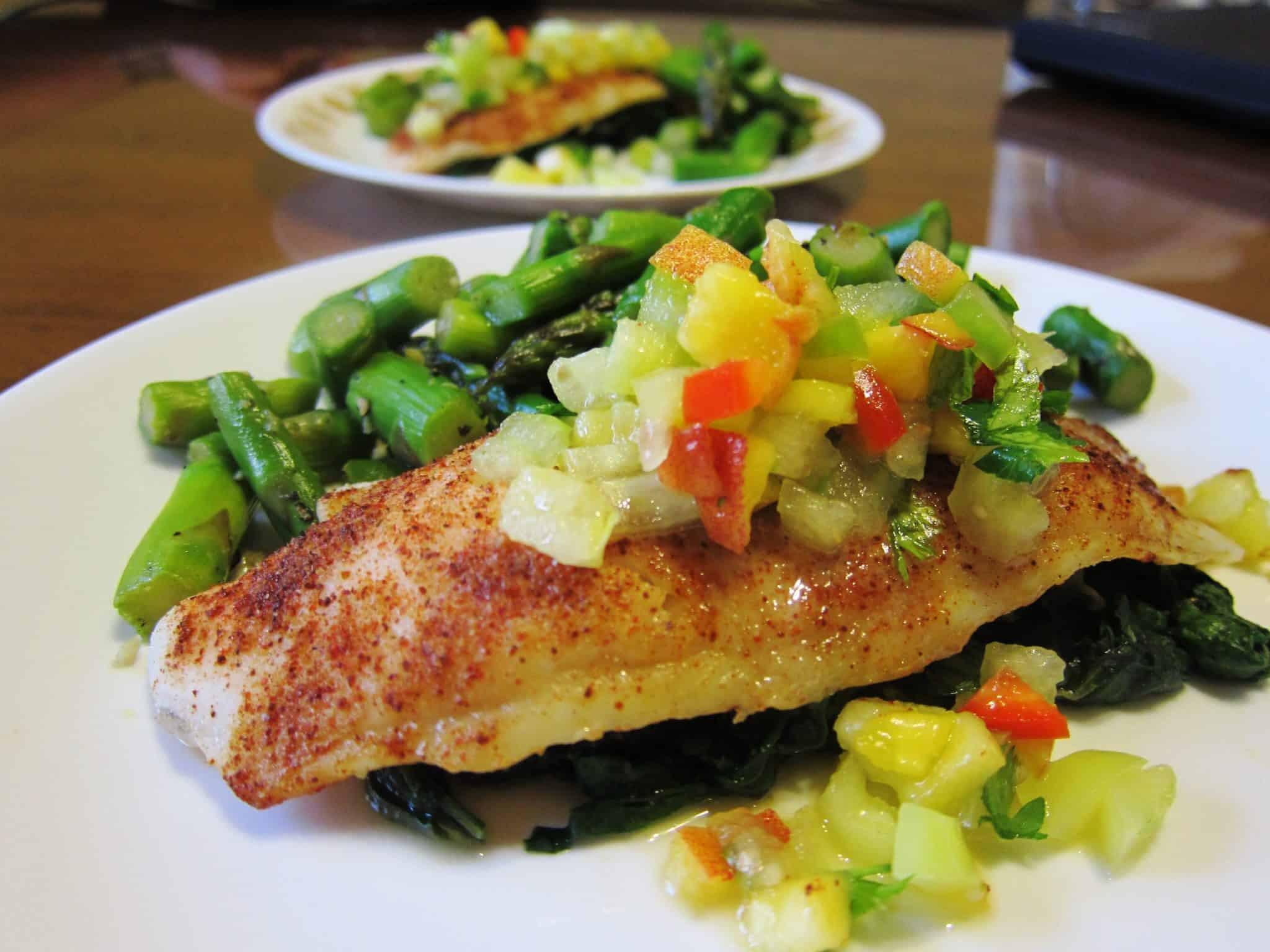 Swai Fish Recipes  Spice Rubbed Swai Fillets with Peach Tomatillo Relish